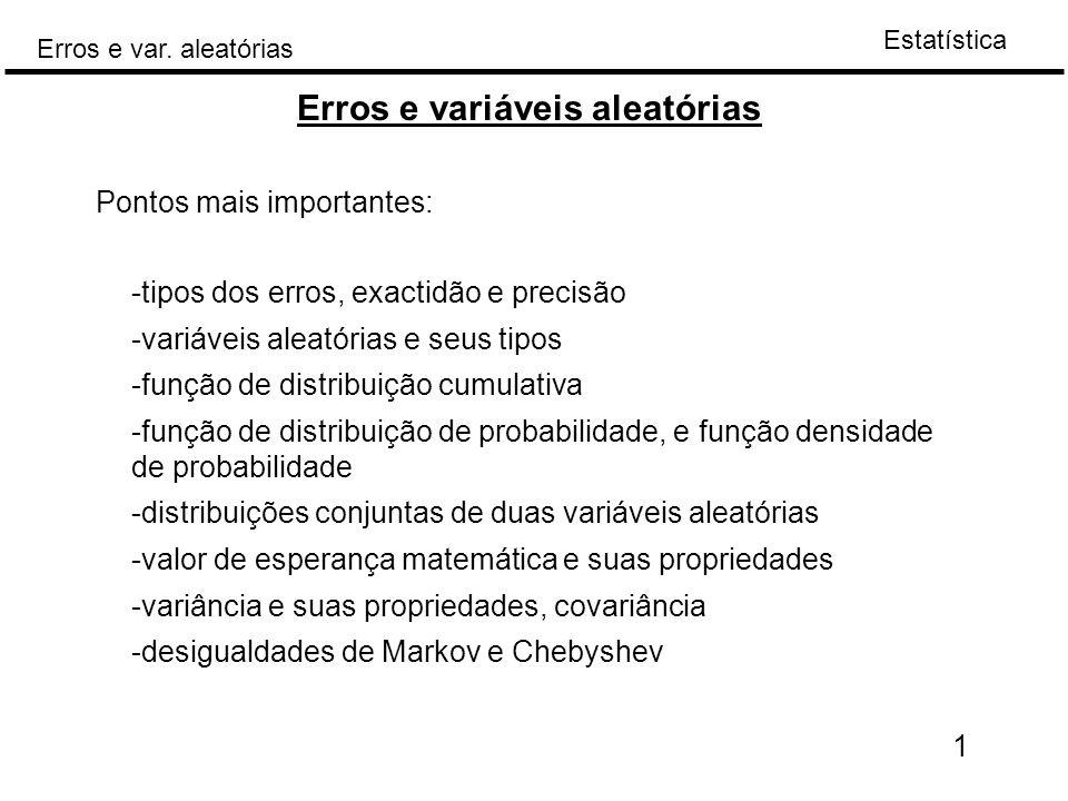 Erros e variáveis aleatórias