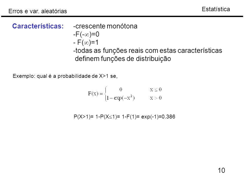 Características: -crescente monótona -F(-)=0 - F()=1