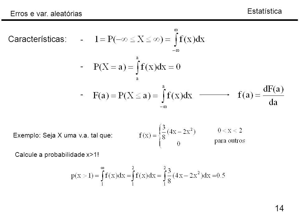 Características: - - - 14 Exemplo: Seja X uma v.a. tal que: