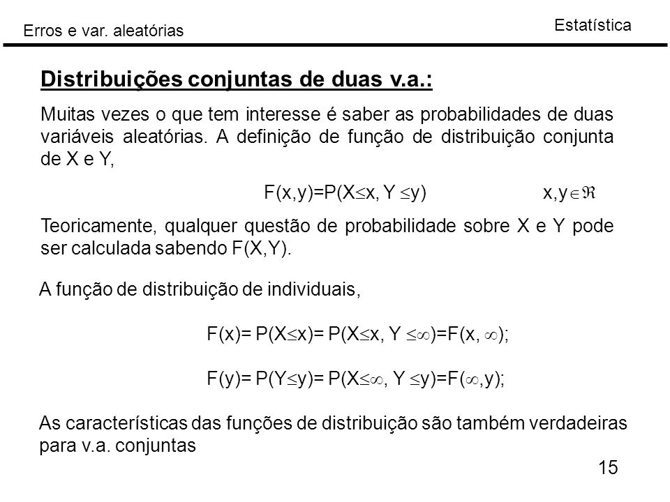 Distribuições conjuntas de duas v.a.: