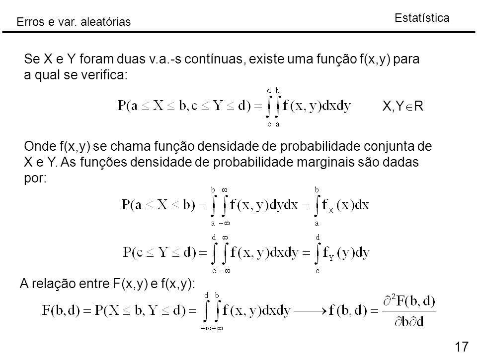 Se X e Y foram duas v.a.-s contínuas, existe uma função f(x,y) para a qual se verifica: