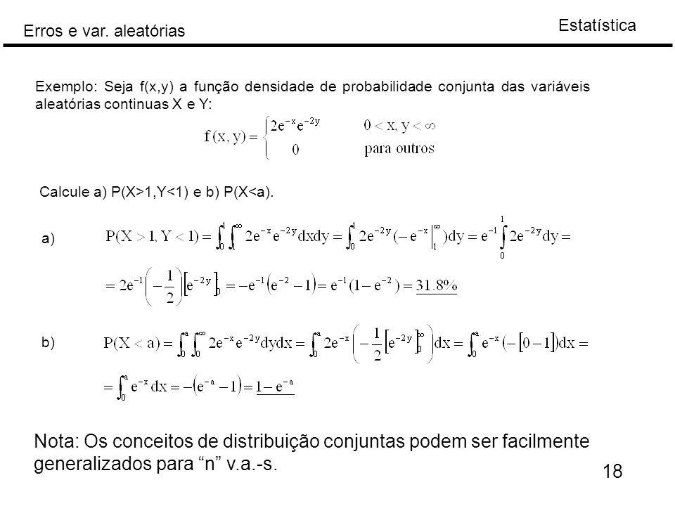 Exemplo: Seja f(x,y) a função densidade de probabilidade conjunta das variáveis aleatórias continuas X e Y: