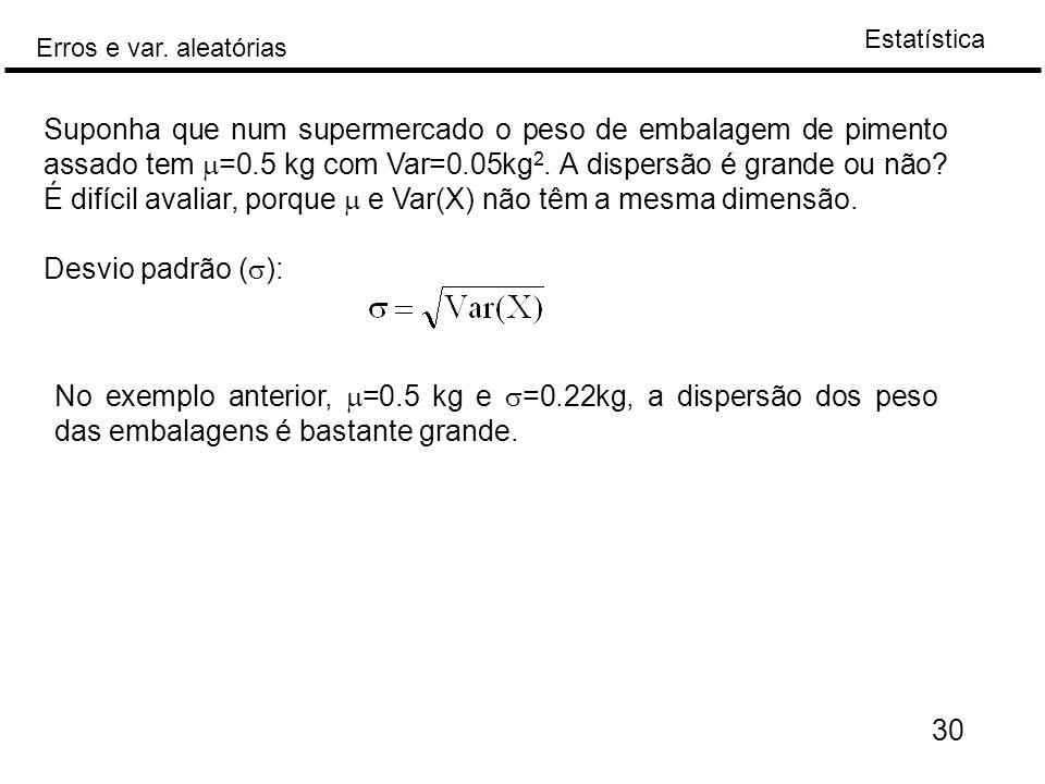 Suponha que num supermercado o peso de embalagem de pimento assado tem m=0.5 kg com Var=0.05kg2. A dispersão é grande ou não É difícil avaliar, porque m e Var(X) não têm a mesma dimensão.