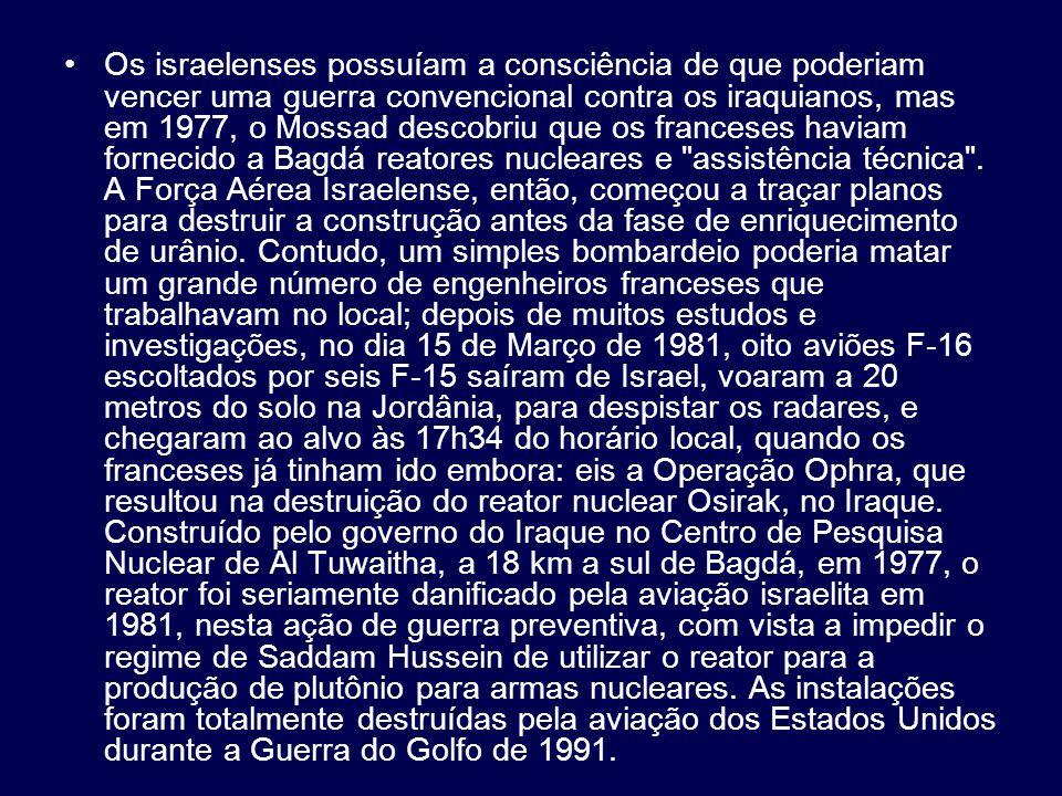 Os israelenses possuíam a consciência de que poderiam vencer uma guerra convencional contra os iraquianos, mas em 1977, o Mossad descobriu que os franceses haviam fornecido a Bagdá reatores nucleares e assistência técnica .