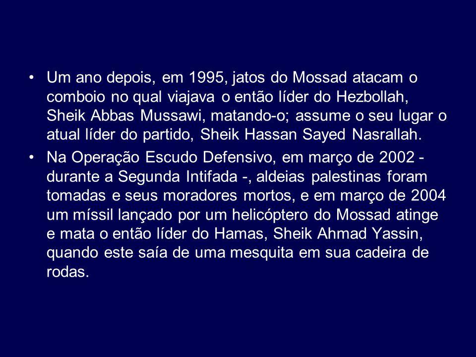 Um ano depois, em 1995, jatos do Mossad atacam o comboio no qual viajava o então líder do Hezbollah, Sheik Abbas Mussawi, matando-o; assume o seu lugar o atual líder do partido, Sheik Hassan Sayed Nasrallah.