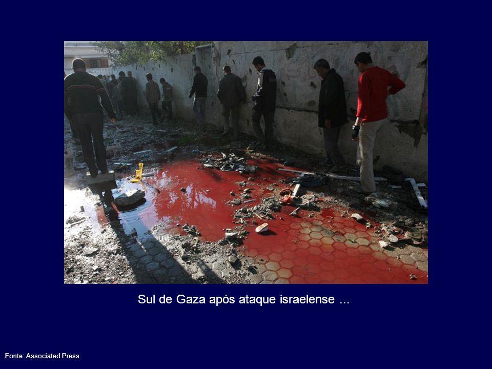 Sul de Gaza após ataque israelense ...