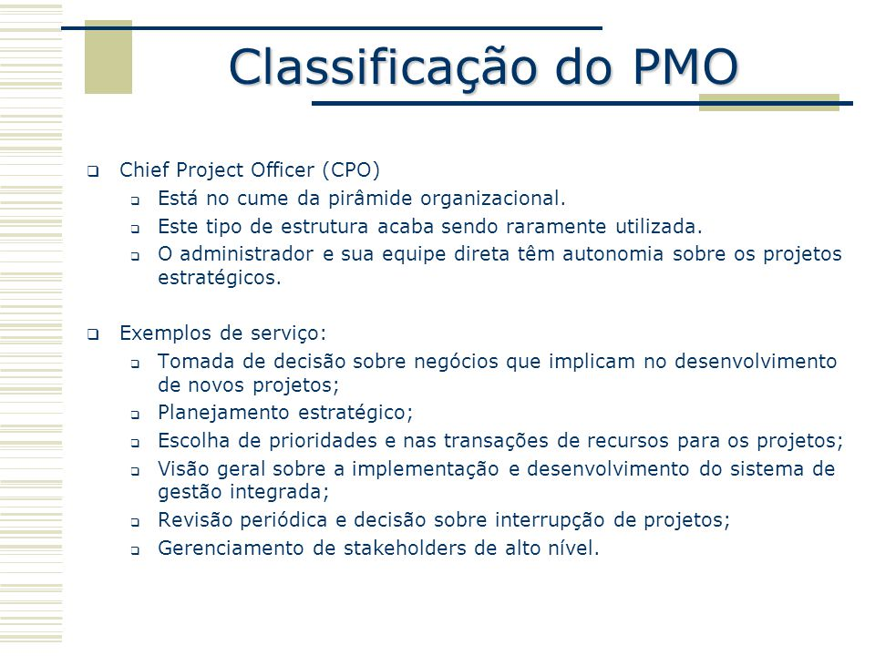 Classificação do PMO Chief Project Officer (CPO)