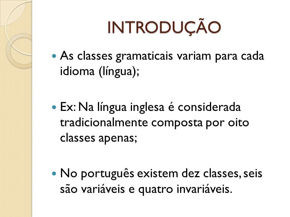 INTRODUÇÃO As classes gramaticais variam para cada idioma (língua);