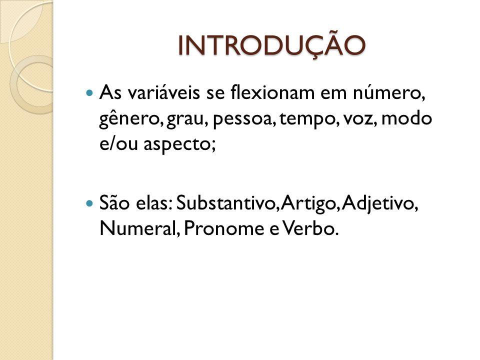 INTRODUÇÃO As variáveis se flexionam em número, gênero, grau, pessoa, tempo, voz, modo e/ou aspecto;