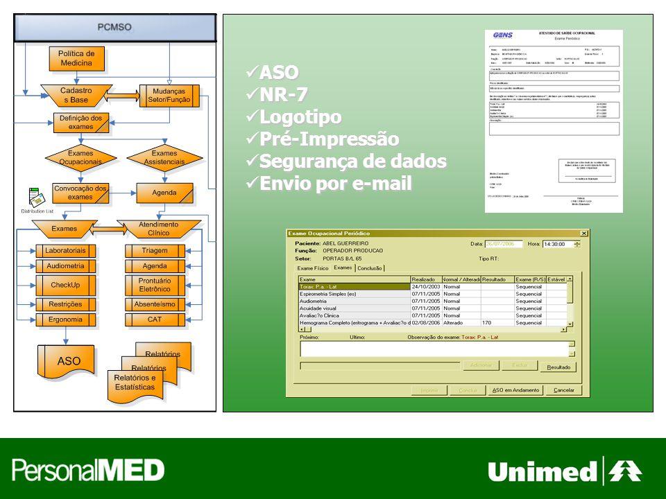 ASO NR-7 Logotipo Pré-Impressão Segurança de dados Envio por e-mail