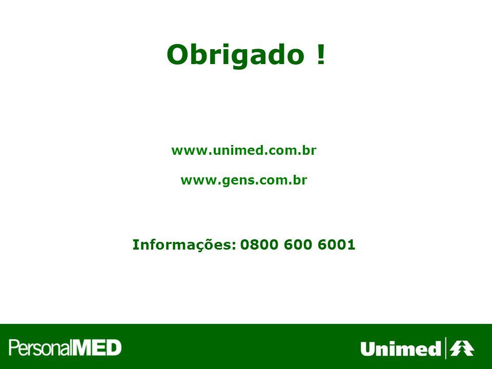 Obrigado ! Informações: 0800 600 6001 www.unimed.com.br