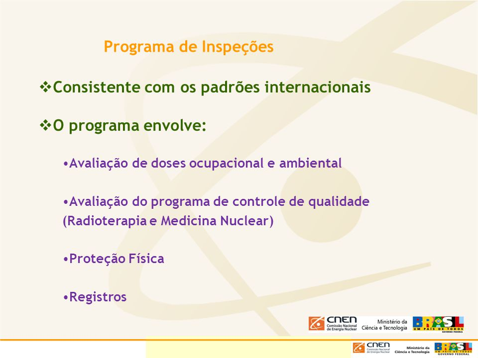 Programa de Inspeções Consistente com os padrões internacionais