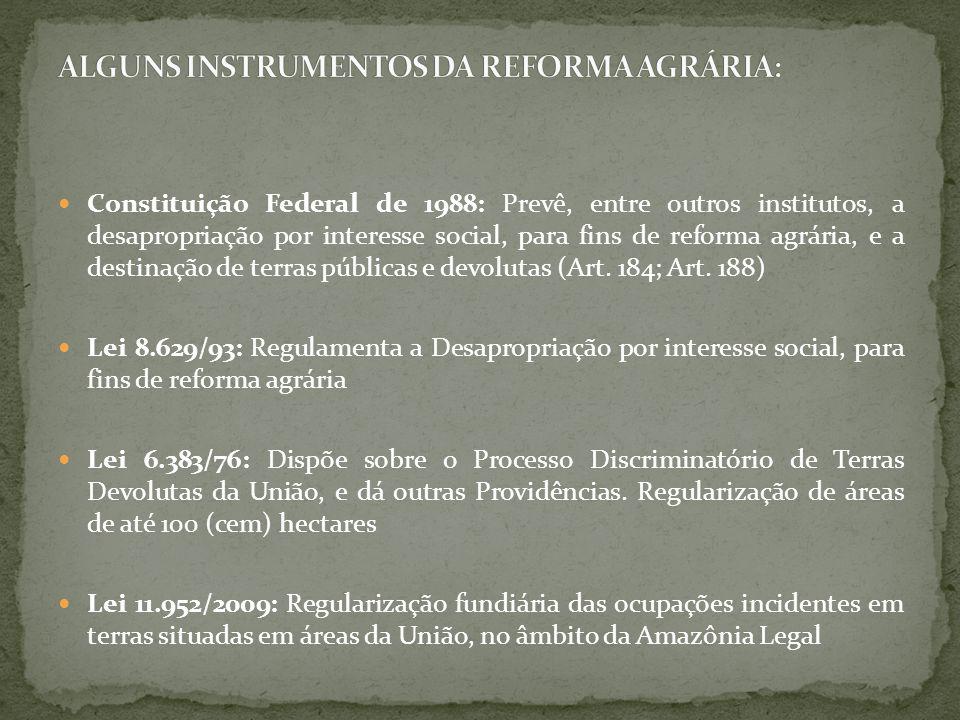 ALGUNS INSTRUMENTOS DA REFORMA AGRÁRIA:
