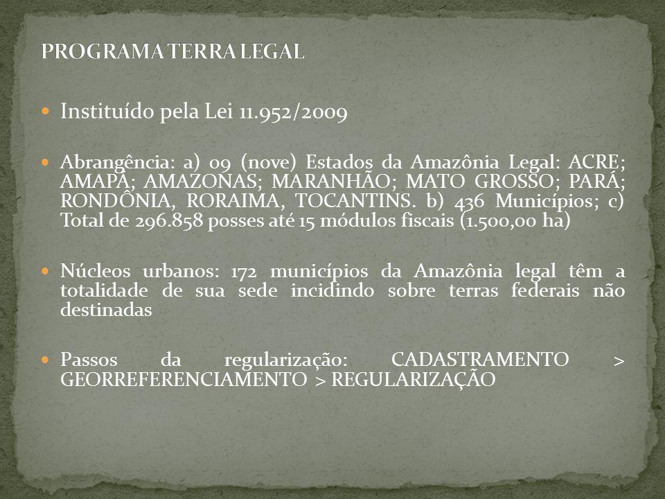 PROGRAMA TERRA LEGAL Instituído pela Lei 11.952/2009