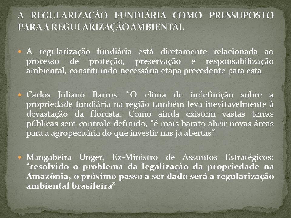 A REGULARIZAÇÃO FUNDIÁRIA COMO PRESSUPOSTO PARA A REGULARIZAÇÃO AMBIENTAL