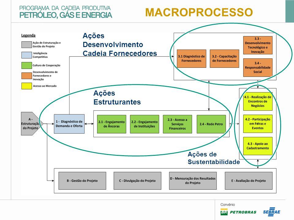 MACROPROCESSO Ações Desenvolvimento Cadeia Fornecedores