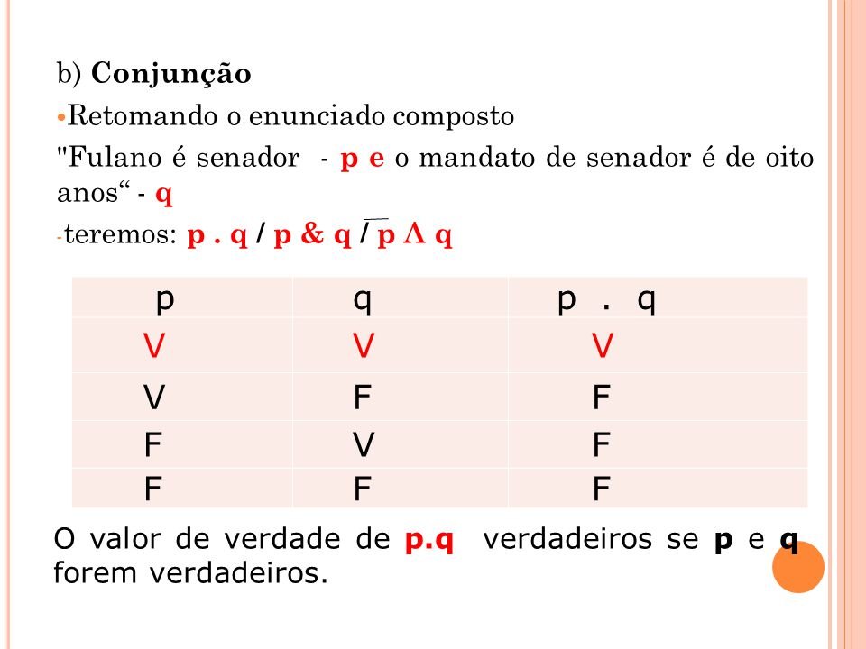 p q p . q V F b) Conjunção Retomando o enunciado composto