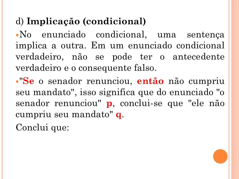 d) Implicação (condicional)
