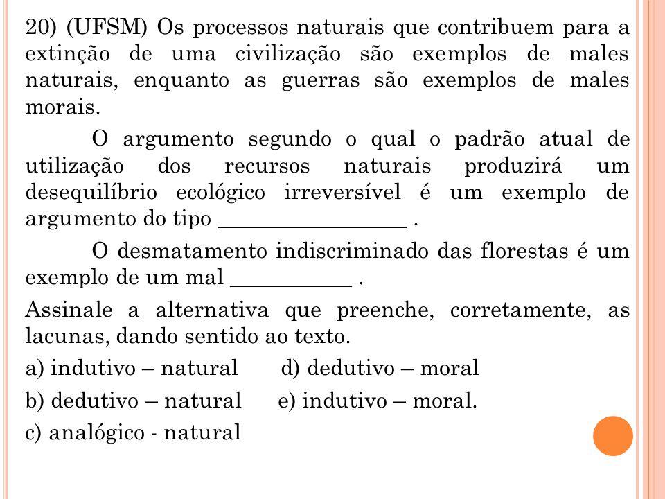 20) (UFSM) Os processos naturais que contribuem para a extinção de uma civilização são exemplos de males naturais, enquanto as guerras são exemplos de males morais.