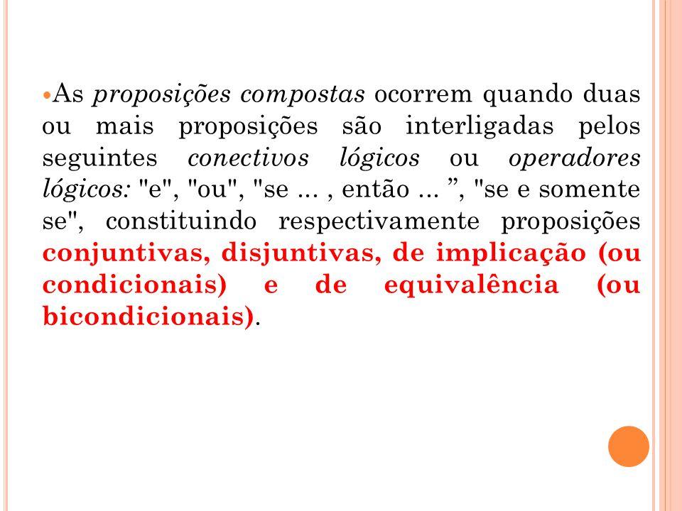 As proposições compostas ocorrem quando duas ou mais proposições são interligadas pelos seguintes conectivos lógicos ou operadores lógicos: e , ou , se ...