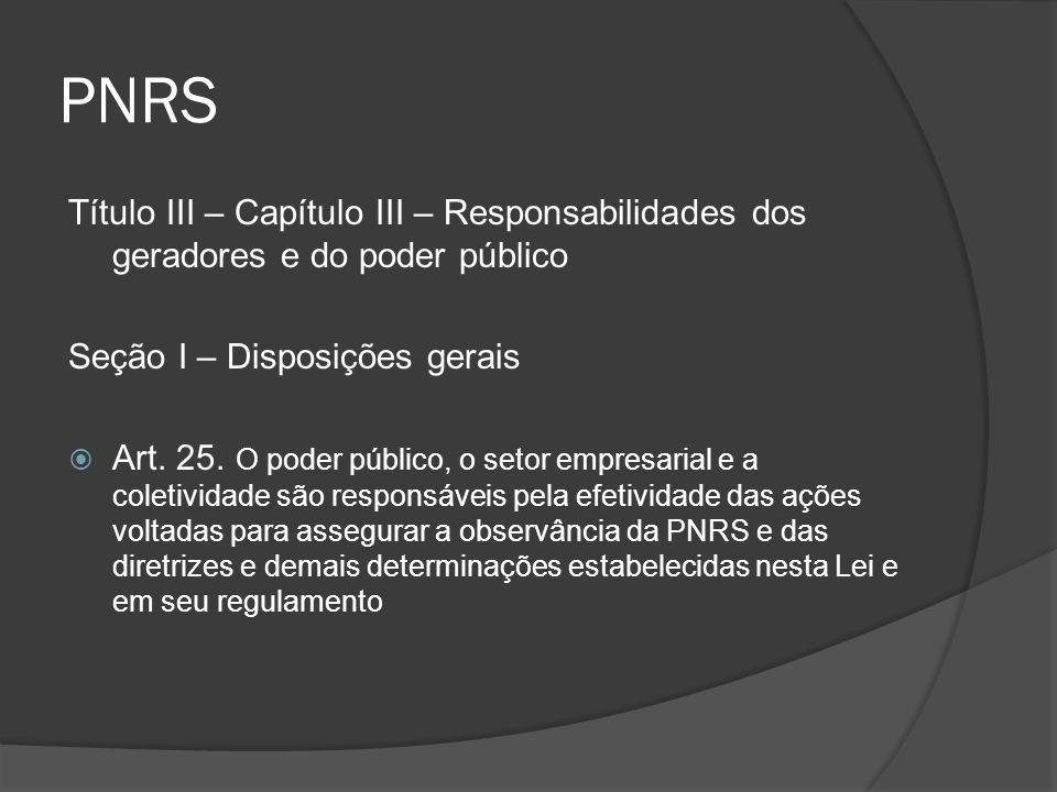 PNRS Título III – Capítulo III – Responsabilidades dos geradores e do poder público. Seção I – Disposições gerais.