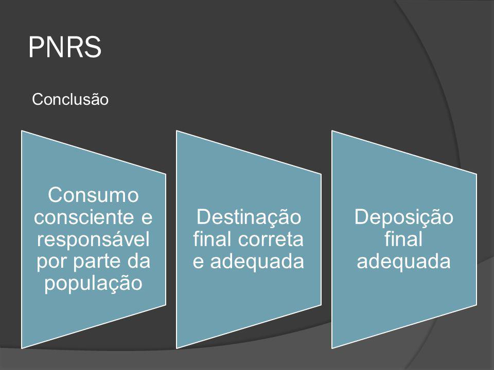 PNRS Conclusão Consumo consciente e responsável por parte da população
