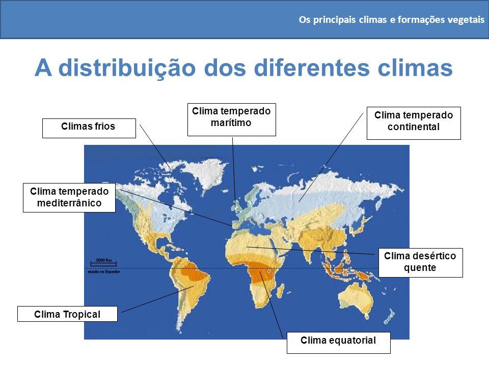 A distribuição dos diferentes climas