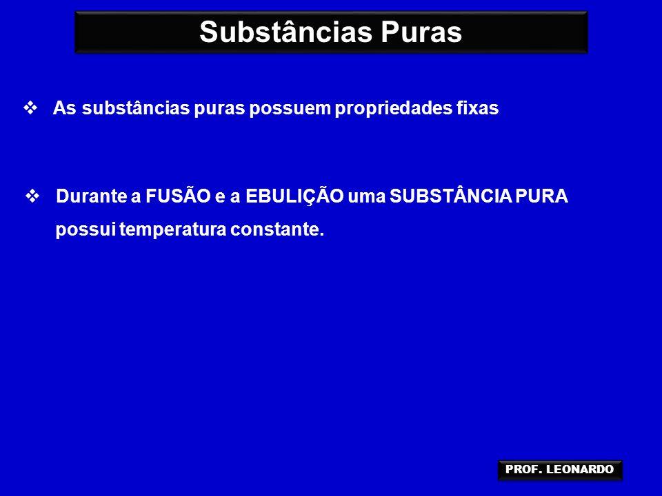 Substâncias Puras As substâncias puras possuem propriedades fixas