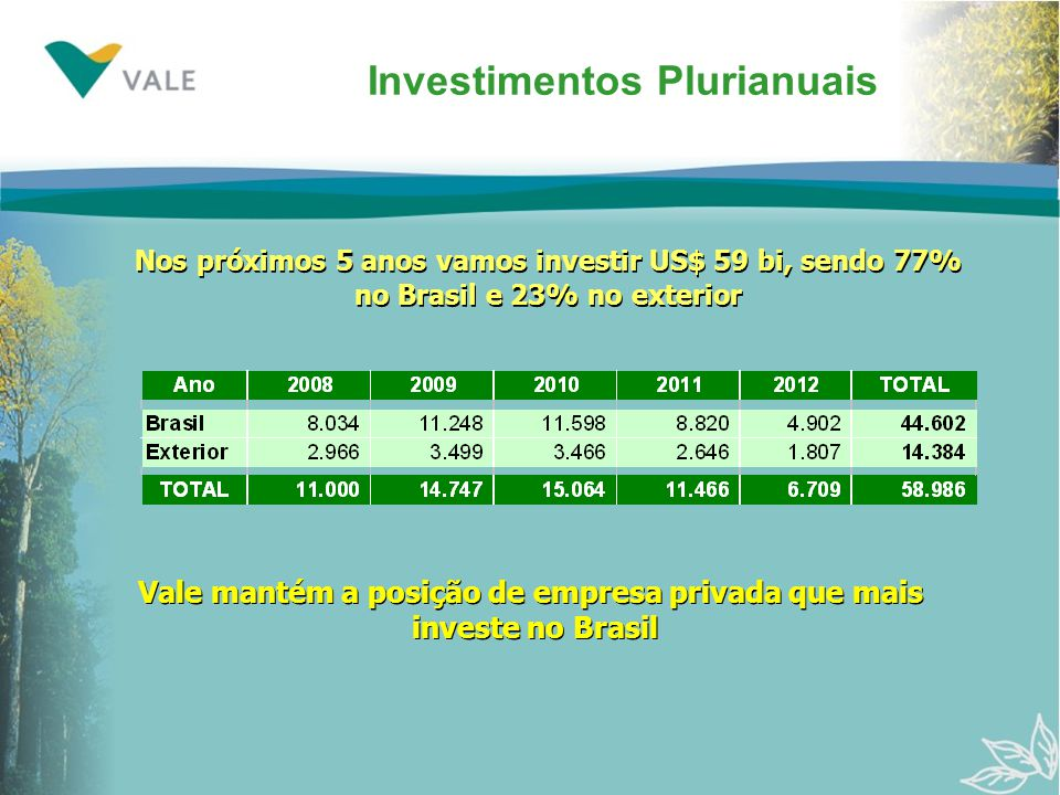 Investimentos Plurianuais
