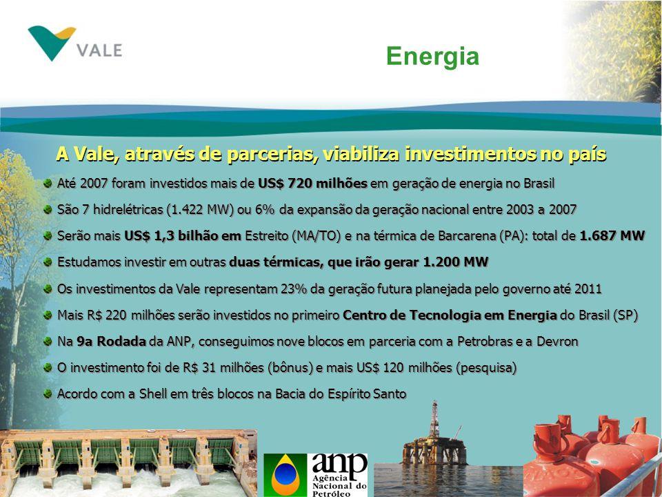 A Vale, através de parcerias, viabiliza investimentos no país