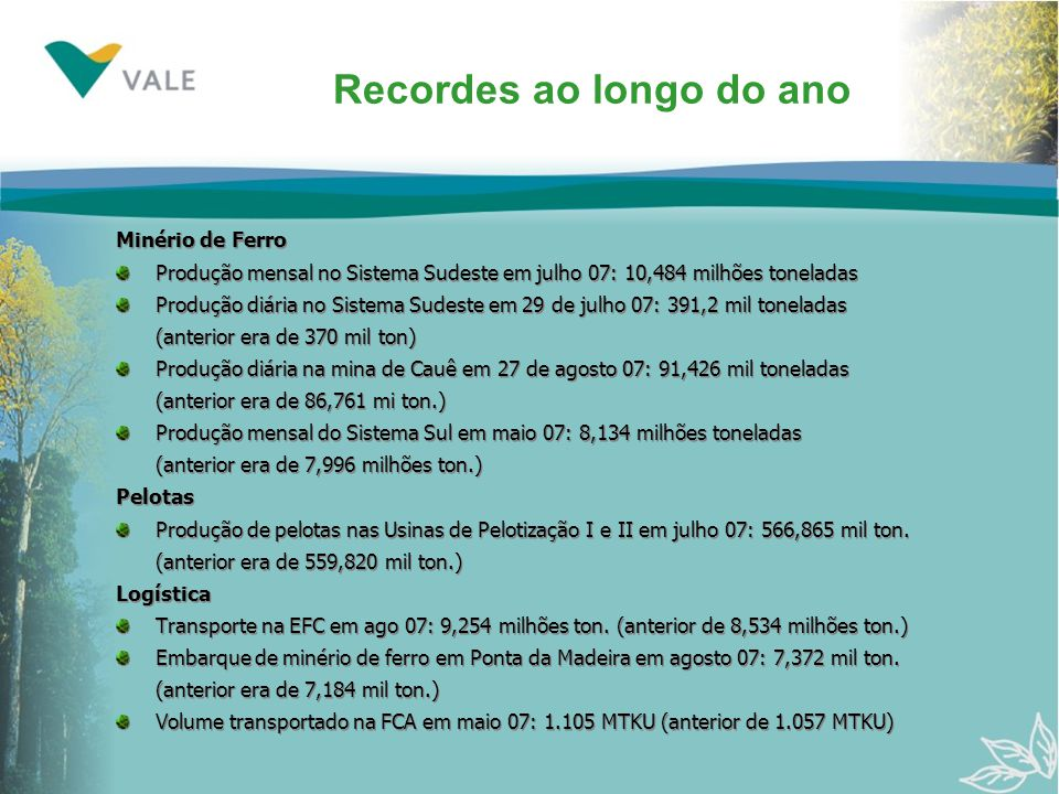 Recordes ao longo do ano