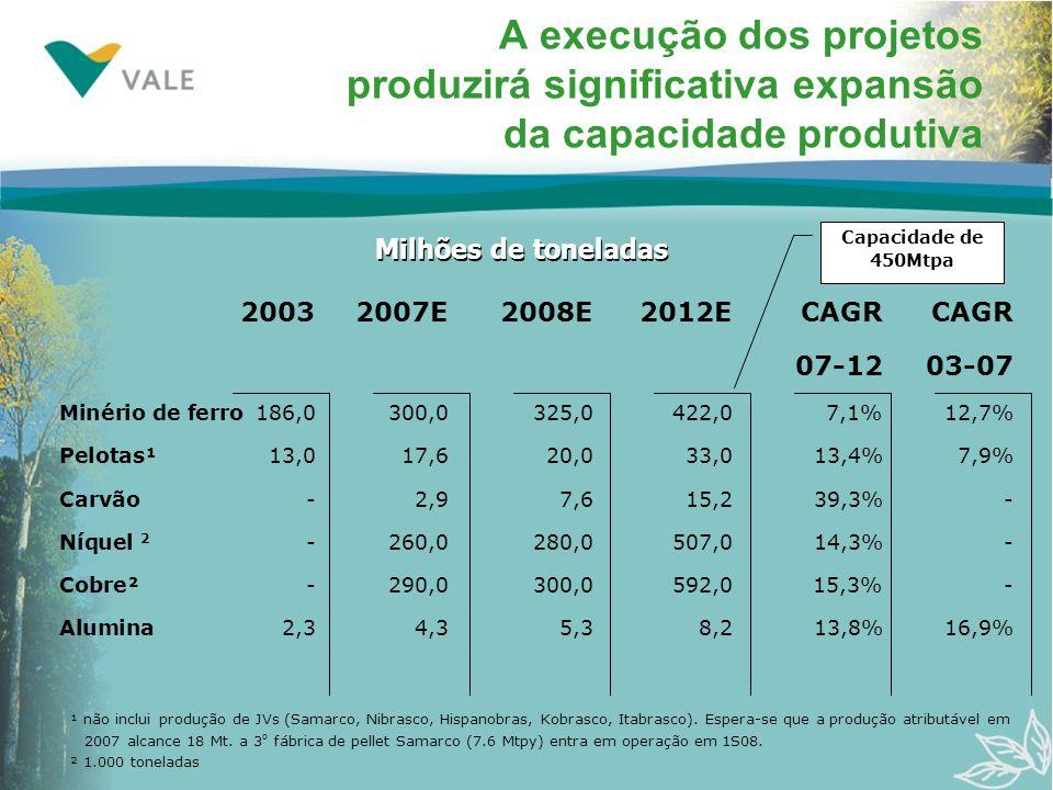 A execução dos projetos produzirá significativa expansão da capacidade produtiva