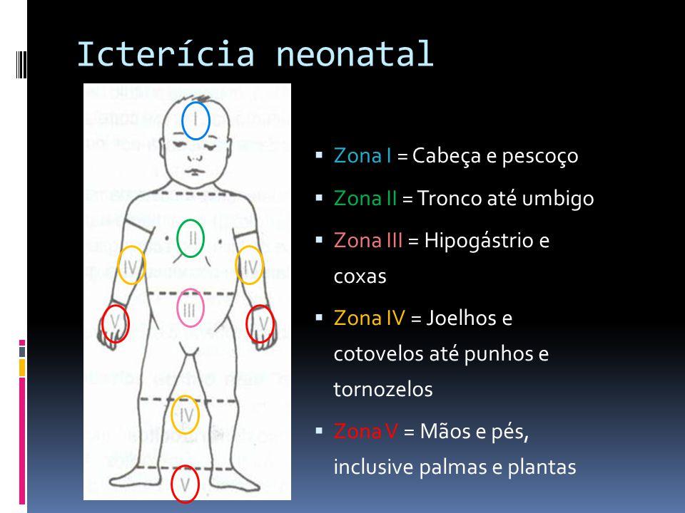 Icterícia neonatal Zona I = Cabeça e pescoço
