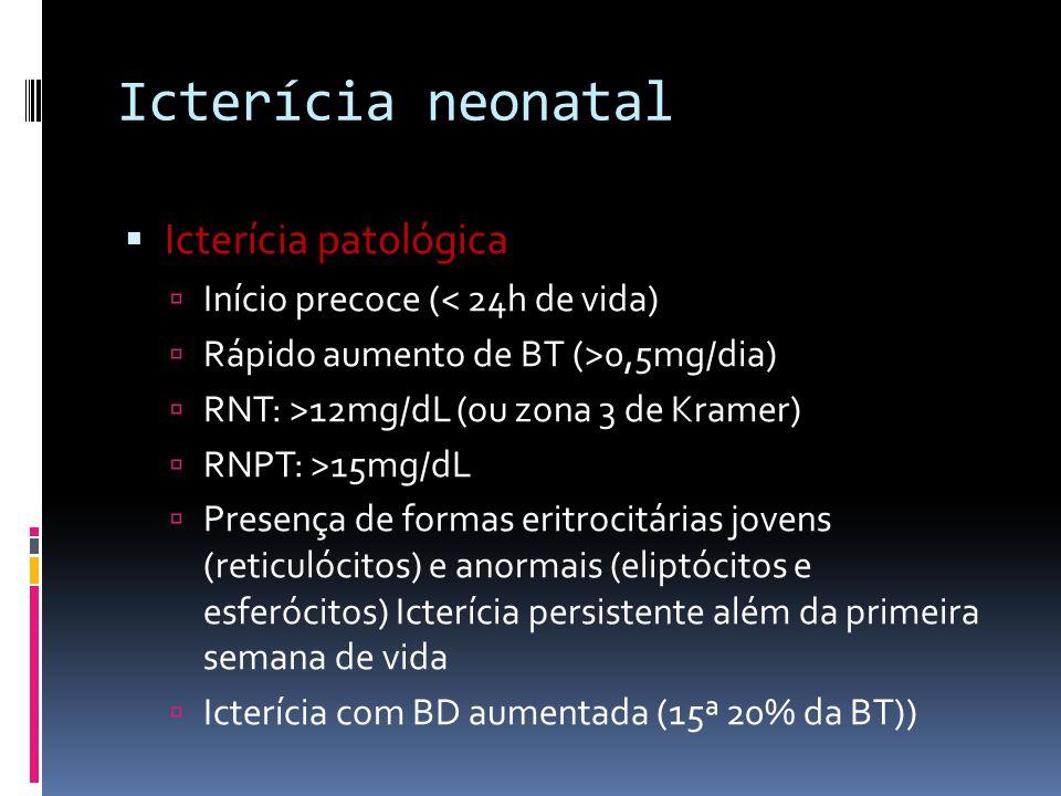 Icterícia neonatal Icterícia patológica