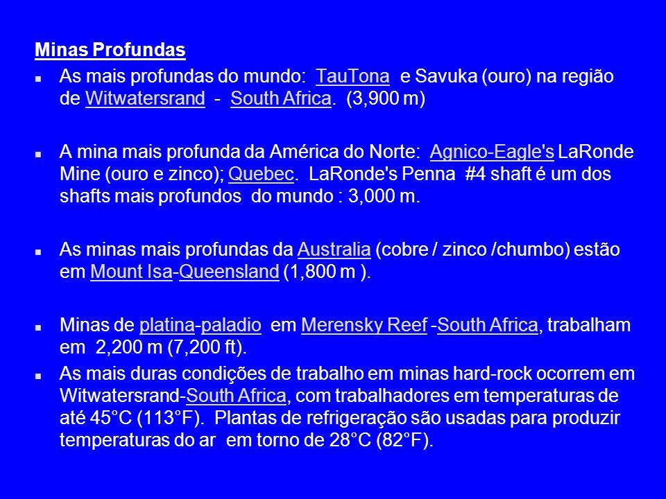 Minas Profundas As mais profundas do mundo: TauTona e Savuka (ouro) na região de Witwatersrand - South Africa. (3,900 m)