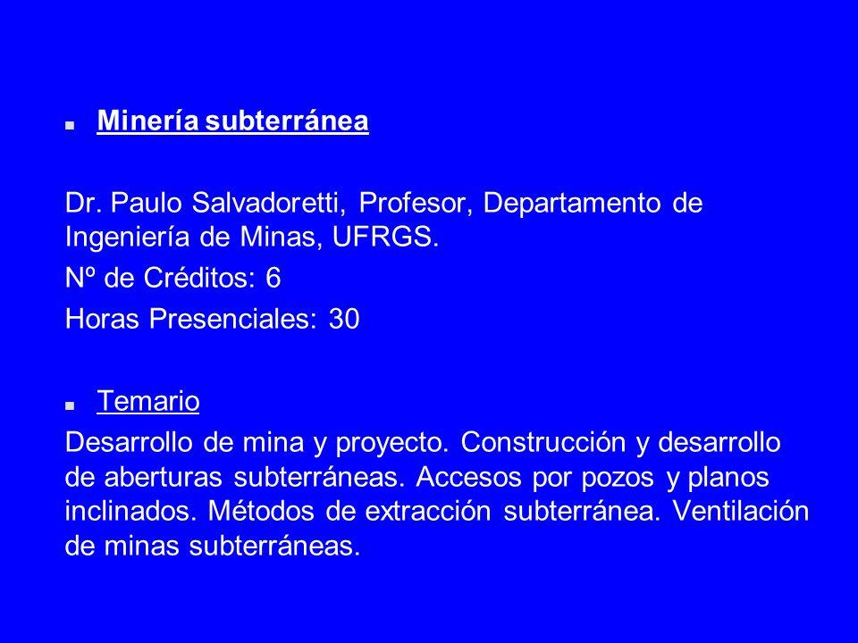 Minería subterránea Dr. Paulo Salvadoretti, Profesor, Departamento de Ingeniería de Minas, UFRGS. Nº de Créditos: 6.