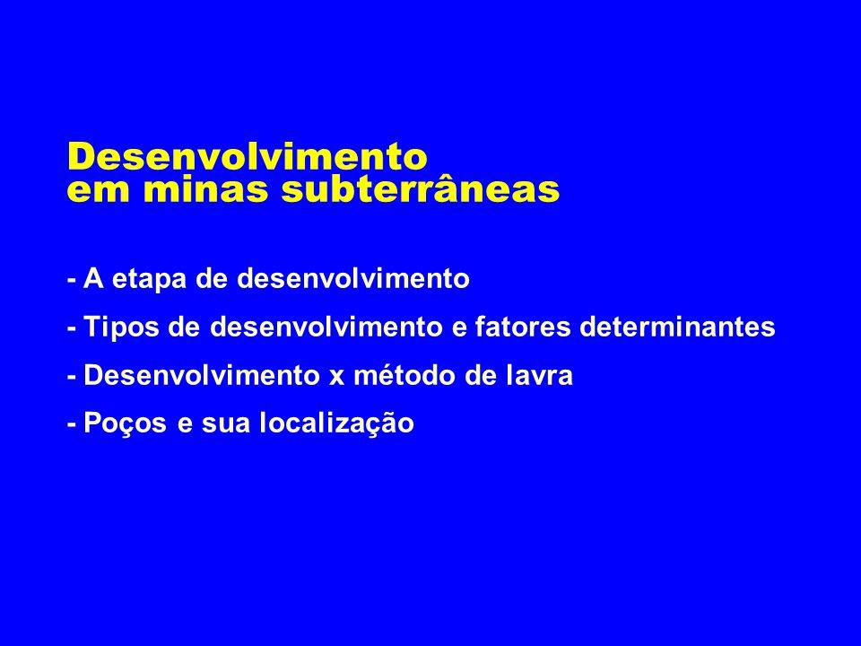 Desenvolvimento em minas subterrâneas - A etapa de desenvolvimento - Tipos de desenvolvimento e fatores determinantes - Desenvolvimento x método de lavra - Poços e sua localização