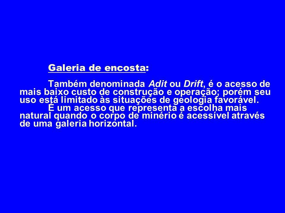 Galeria de encosta: Também denominada Adit ou Drift, é o acesso de mais baixo custo de construção e operação; porém seu uso está limitado às situações de geologia favorável.