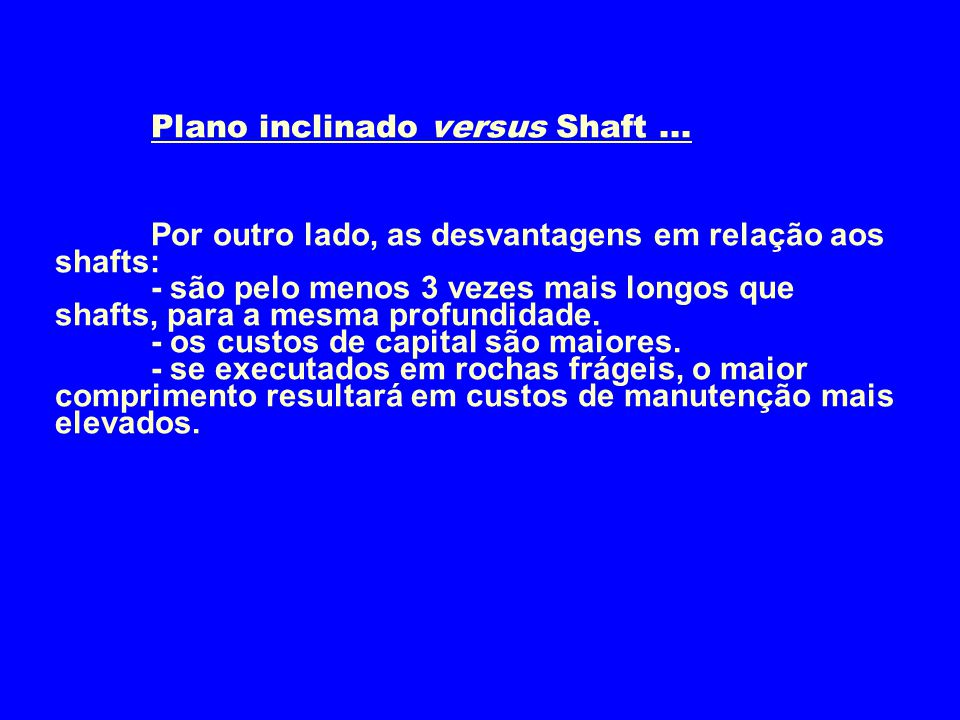 Plano inclinado versus Shaft