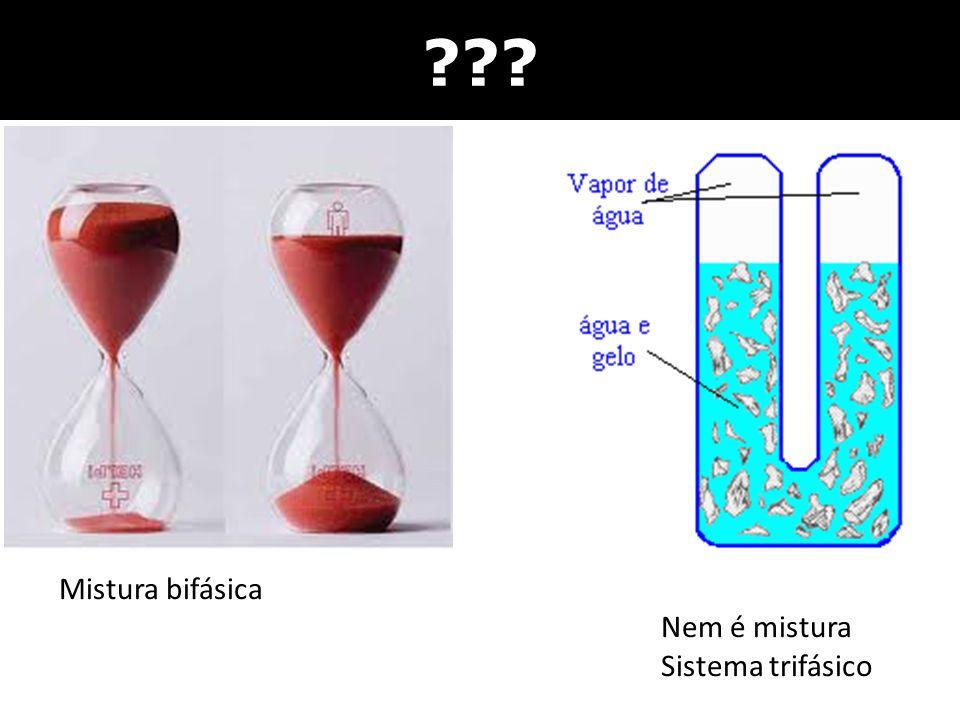 Mistura bifásica Nem é mistura Sistema trifásico