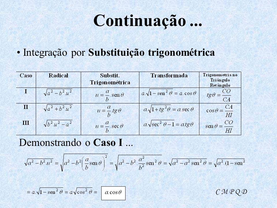 Continuação ... • Integração por Substituição trigonométrica