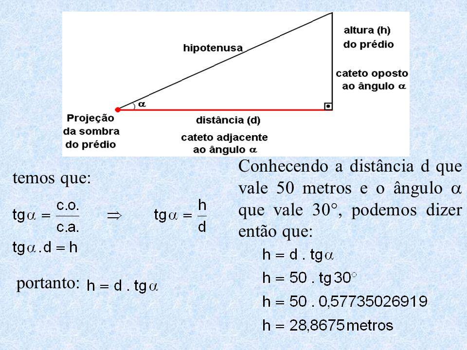 Conhecendo a distância d que vale 50 metros e o ângulo a que vale 30°, podemos dizer então que: