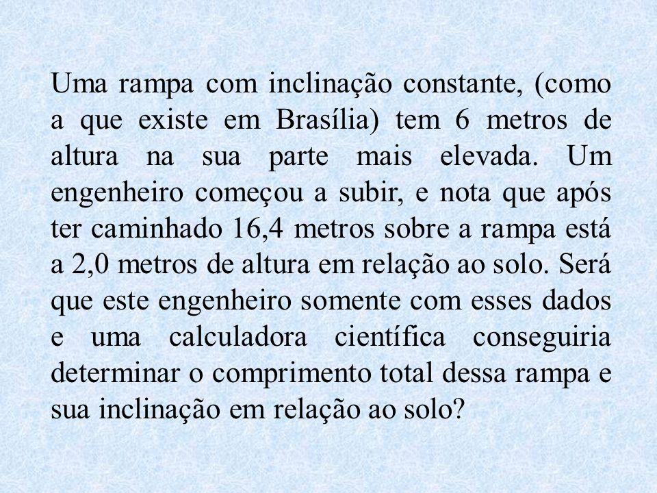 Uma rampa com inclinação constante, (como a que existe em Brasília) tem 6 metros de altura na sua parte mais elevada.