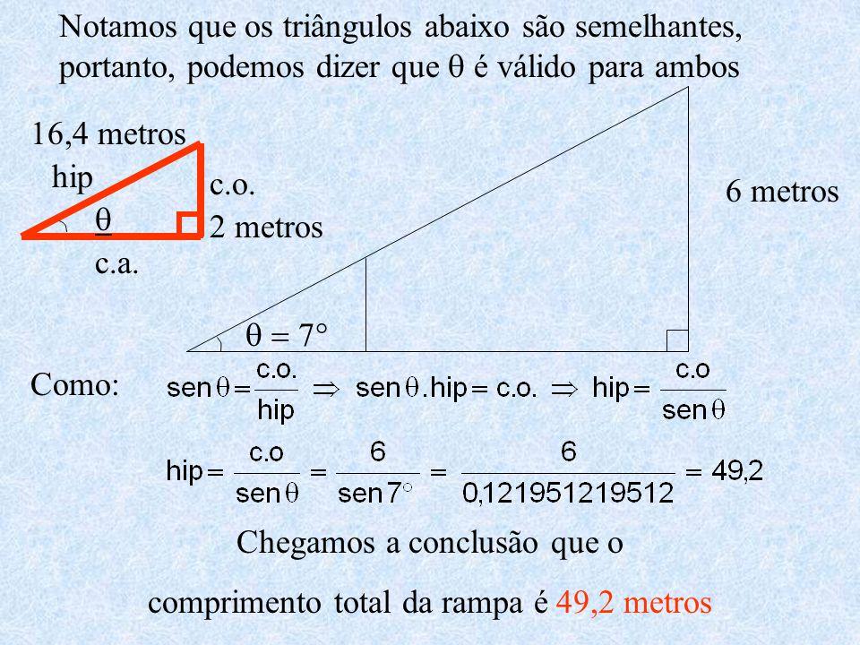 Chegamos a conclusão que o comprimento total da rampa é 49,2 metros
