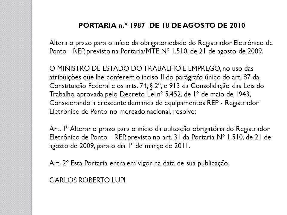 PORTARIA n.º 1987 DE 18 DE AGOSTO DE 2010