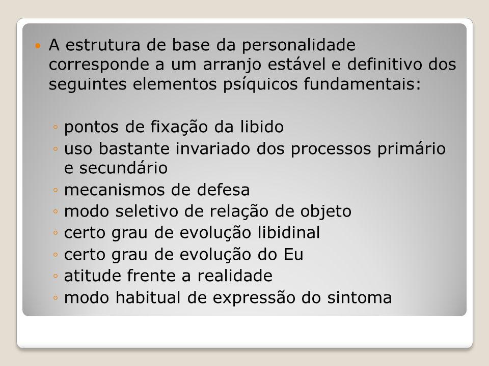 A estrutura de base da personalidade corresponde a um arranjo estável e definitivo dos seguintes elementos psíquicos fundamentais: