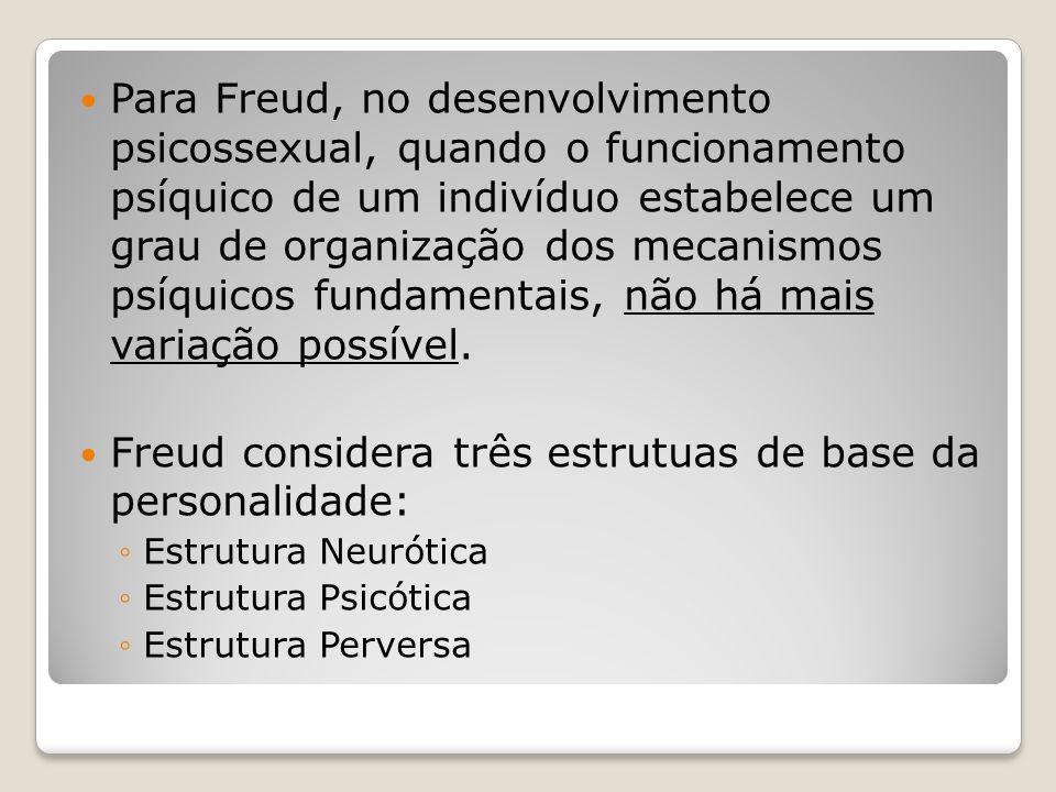 Freud considera três estrutuas de base da personalidade: