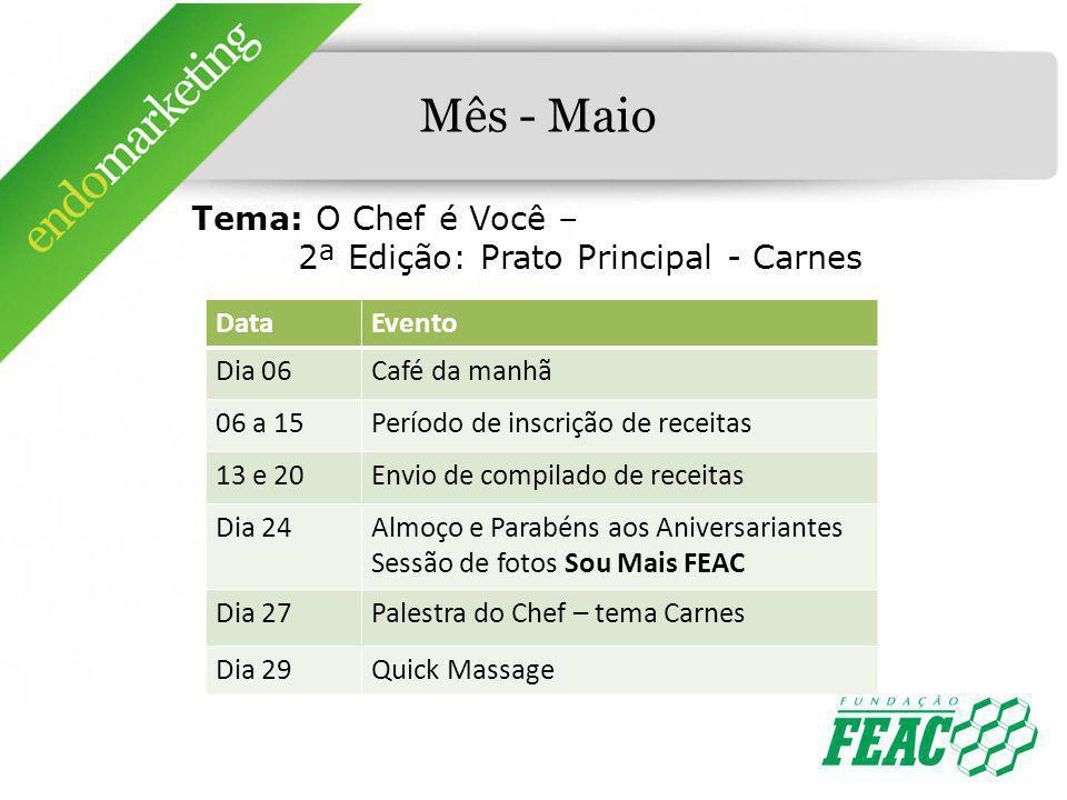 Mês - Maio Tema: O Chef é Você – 2ª Edição: Prato Principal - Carnes