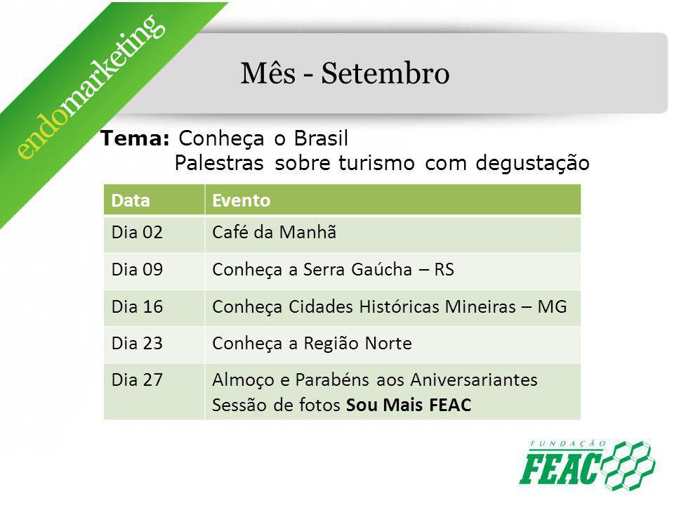 Mês - Setembro Tema: Conheça o Brasil Palestras sobre turismo com degustação. Data. Evento. Dia 02.