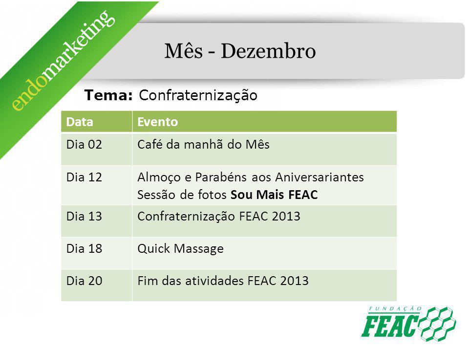 Mês - Dezembro Tema: Confraternização Data Evento Dia 02